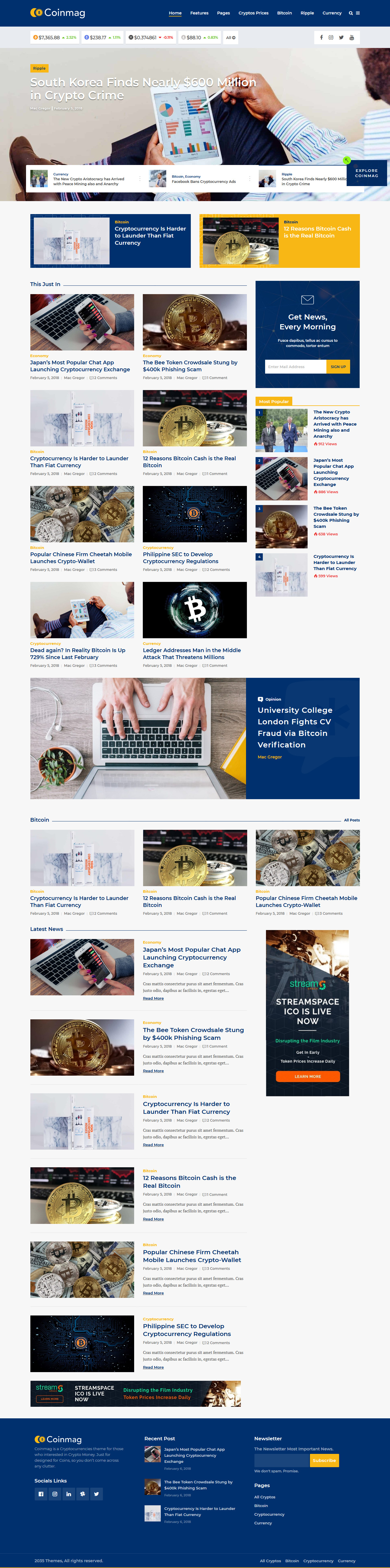 Coinmag – Best Premium Cryptocurrency WordPress Theme