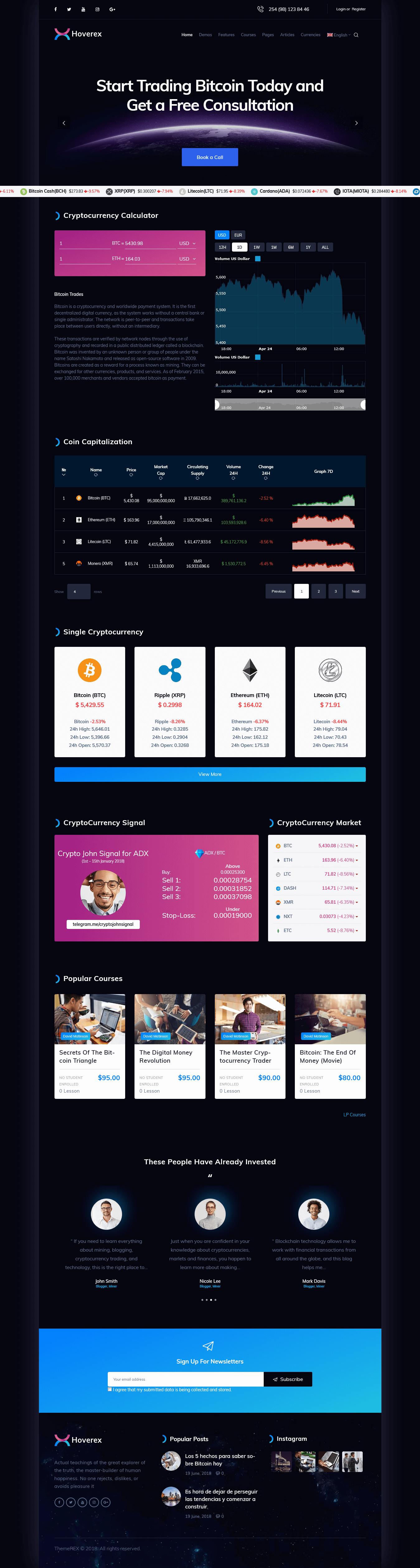 Hoverex – Best Premium Cryptocurrency WordPress Theme